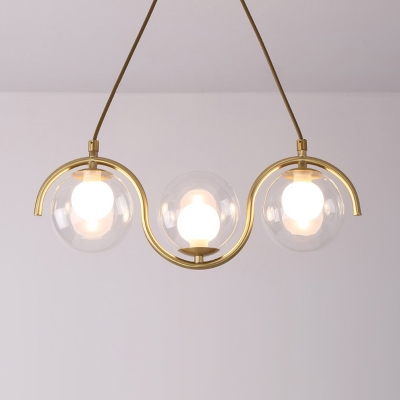 Clear Glass Orb Hanging Island Light Contemporary 3/5/7 Lights Brass Pendant Chandelier