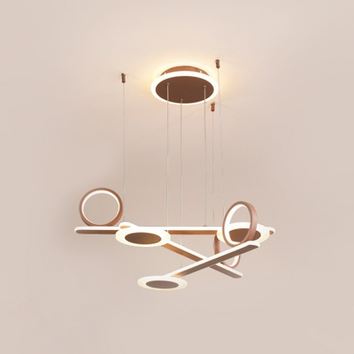 Coffee Ring Hanging Lamp Contemporary Acrylic LED Chandelier Lighting in Warm/White Light, 31.5
