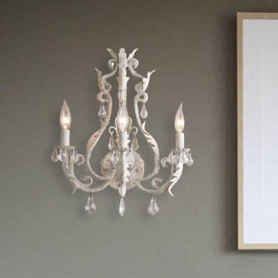 Crystal Gray/Ivory Wall Lamp Candlestick 3 Bulbs Traditional Wall Lighting Fixture with Curvy Arm