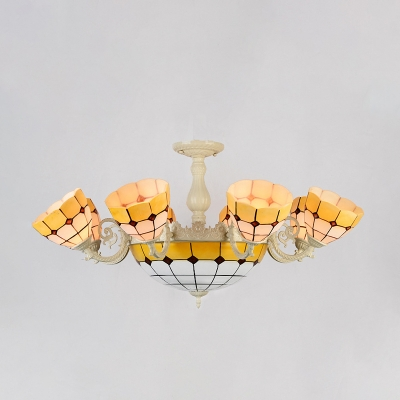 Dome Stained Glass Ceiling Lighting Tiffany 11 Heads Gold/White Semi Flush Mount Fixture
