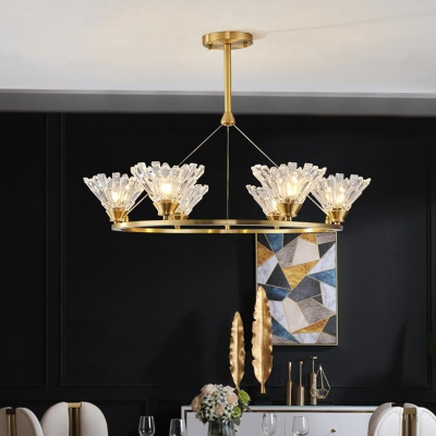 Gold 6 Heads LED Chandelier Lighting Traditionalism Clear Glass Conical Pendant Ceiling Light, HL580947