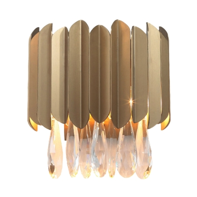Gold/Black 2 Lights Wall Sconce Lighting Traditional Beveled Crystal Raindrop Wall Mount Light for Living Room