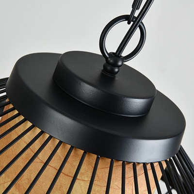 Iron Tapered Cage Ceiling Pendant Minimalist 1 Bulb Hanging Light Fixture in Black