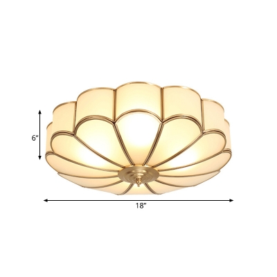 Metal Scalloped Flush Ceiling Light Simplistic 3/4/6 Heads Bedroom Lighting Fixture in Brass, 14