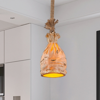 Resin Money Sack Pendant Light Traditional 1 Bulb Dark Brown/Beige Ceiling Suspension Lamp
