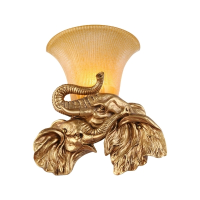Retro Style Elephant Wall Sconce Fixture 1 Head Golden Resin Wall Mount Light with Yellow Glass Bell Shade