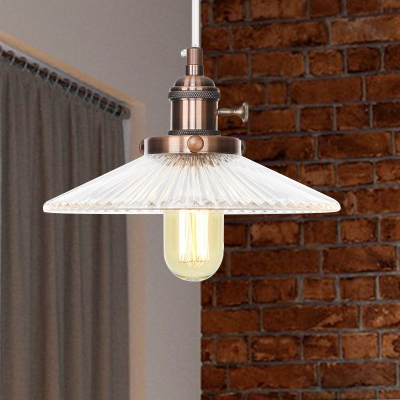Saucer Pendant Lighting Vintage Stylish Clear Ribbed Glass 1 Head Black/Bronze/Brass Ceiling Fixture for Coffee Shop, Black;bronze;rose gold;brass;chrome;copper, HL572418