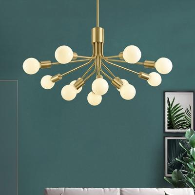 Starburst Chandelier Lamp Modernist Metal 12 Heads Suspended Lighting Fixture in Brass