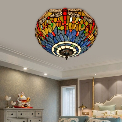 Tiffany Dragonfly Ceiling Light Fixture 3 Bulbs Stained Glass Flush Mount Lighting in Blue/Yellow/Red, Blue;orange;red;yellow, HL580002