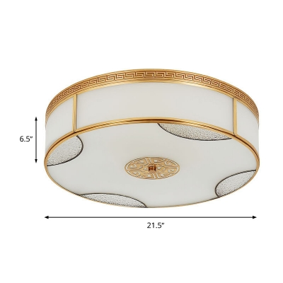 Traditional Drum Ceiling Mount Light Fixture 3/4/6 Bulbs Milk Glass Flush Mount Chandelier in Brass for Bedroom, 14