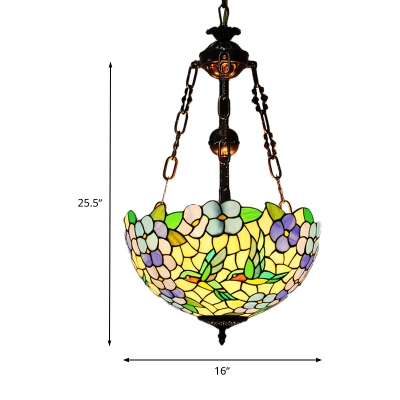 Weathered Copper Flower Chandelier Lighting Tiffany 3 Lights Stained Glass Hanging Lamp