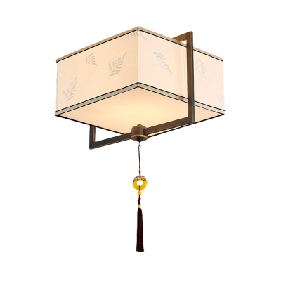 White 5 Heads Flush Mount Lamp Traditional Fabric Square Ceiling Fixture for Bedroom