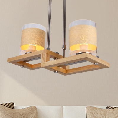 Wood Rectangle Ceiling Pendant Light Contemporary 2 Lights Chandelier Lamp for Dining Room