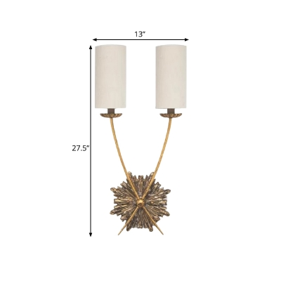 2 Lights Cylinder Sconce Light Fixture Minimalist White Fabric Wall Mounted Lamp for Bedroom