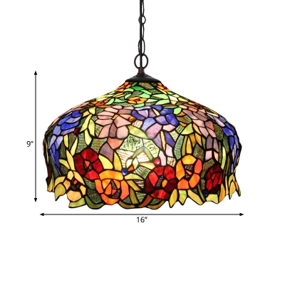 2 Lights Hanging Chandelier Tiffany Flower Orange Cut Glass Suspension Pendant Light for Living Room