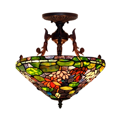 3 Lights Blossom Semi Flush Mount Mediterranean Red/Green Stained Glass Ceiling Mounted Fixture