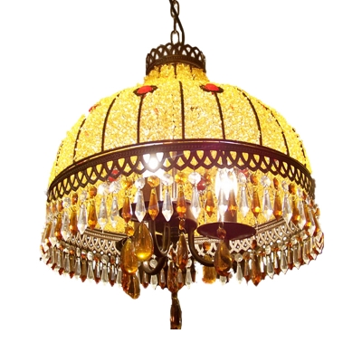 3 Lights Dome Hanging Ceiling Light Traditional Yellow Crystal Drop Chandelier Light Fixture