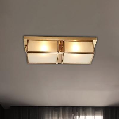 4-Light Frosted Glass Flush Ceiling Light Classic Brass Rectangle Living Room Flush Mount Lamp