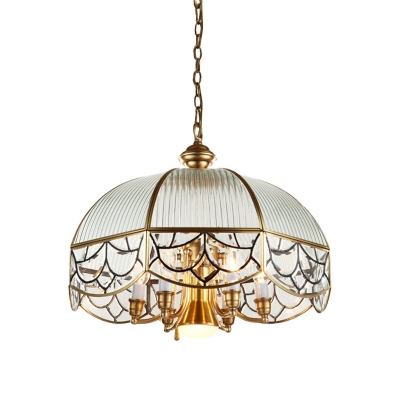 7 Bulbs Scallop Pendant Lamp Colonial Brass Frosted Prismatic Glass Chandelier Light Fixture for Living Room