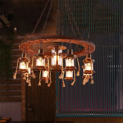 9 Light LED Hanging Lantern Country Metal and Wood Pendant Chandelier with Rope for Restaurant