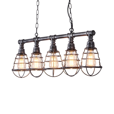 Aged Silver Caged Island Pendant Farmhouse Metal 5 Lights Dining Room Billiard Lamp