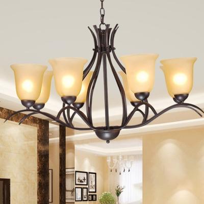 Bell Cream Glass Pendant Chandelier Retro 3/5/8 Bulbs Bedroom Hanging Light in Black