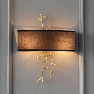 Black/White Rectangle Wall Mounted Lighting Minimalist 2 Lights Bedroom Sconce Light Fixture
