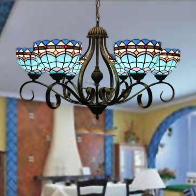 Blue Domed Chandelier Pendant Light Mediterranean 3/6/8 Lights Stained Glass Hanging Lamp, 25.5