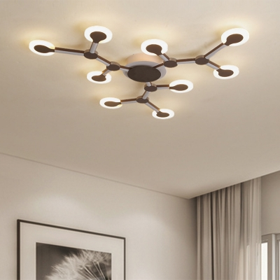 Brown Sputnik Flush Mount Modern Acrylic LED Ceiling Lighting in Warm/White Light, 33.5