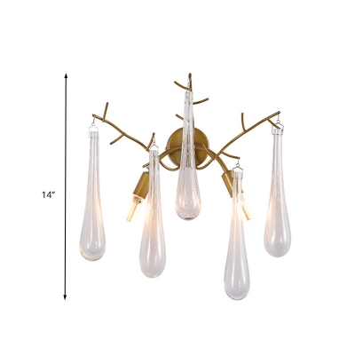 Clear Glass Gold Wall Mount Lamp Raindrop 2 Bulbs Simple Wall Lighting Fixture for Bedroom