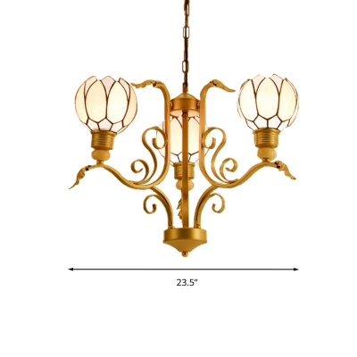 Floral Chandelier Light Tiffany-Style Stained Art Glass 3/5/6 Bulbs Pink Pendant Lighting for Bedroom