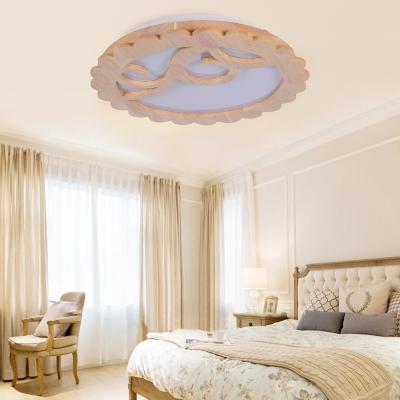 Flower Flushmount Lighting Modern Style Wood LED Beige Ceiling Flush Mount for Living Room