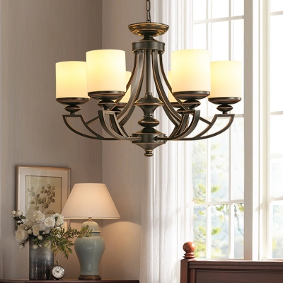 Frosted Glass Black Pendant Chandelier Cylinder 3/6 Lights Traditional Ceiling Hang Fixture for Living Room