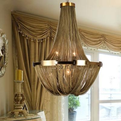 Gold Basket Chandelier Pendant Light Traditional Metal 6 Lights Bedroom Hanging Lamp Kit