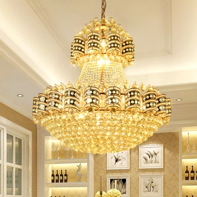 Gold Bowl Chandelier Lighting Traditional 9 Heads Crystal Ball Hanging Pendant Light