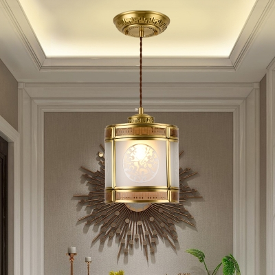 Lantern Opaline Glass Suspension Light Traditional 1 Bulb Hallway Pendant Lamp in Brass
