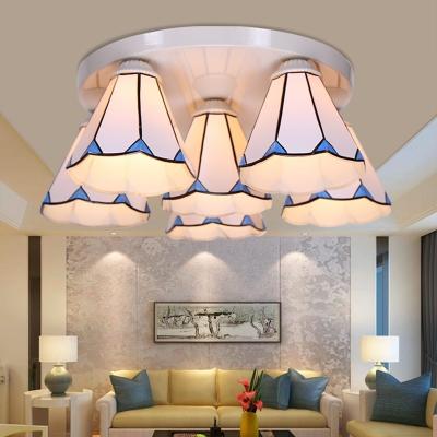 Leaf/Stripes Flush Mount Lamp Stained Glass 3/6 Lights Blue Flush Ceiling Light for Living Room