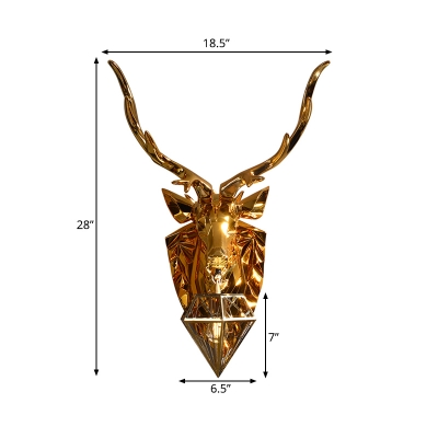 Metal Diamond Cage Wall Sconce Light Lodge Style 1 Head Sconce Lamp with Elk Backplate in Gold, 16