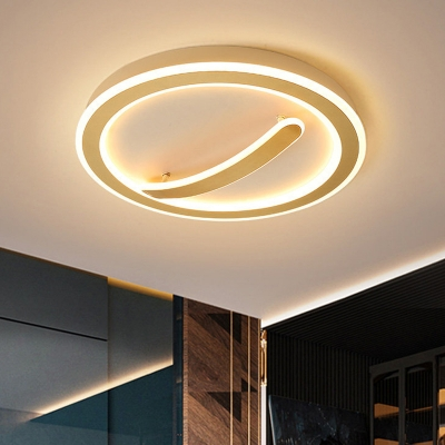 Round Acrylic Flush Light Fixture Simple Style Gold/Black-White Ceiling Light in Remote Control Stepless Dimming/Warm/White Light, 18