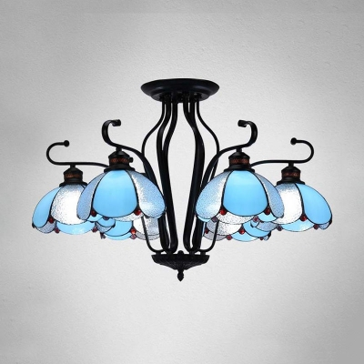 Scalloped White/Blue/Yellow Glass Ceiling Chandelier Tiffany 6/8 Lights Black Hanging Light Kit for Living Room