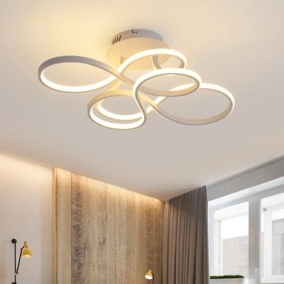Silica Gel Twist Semi Flush Mount Contemporary Led Semi Flush Ceiling Light with White Lighting