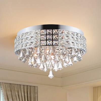 Sparkling Crystal Lighting Fixture Contemporary Round Ceiling Light Fixtures for Bedroom