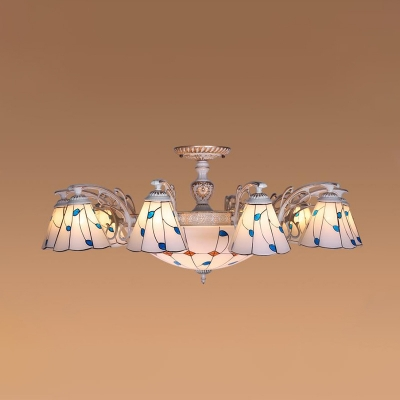 Stained Glass Cone Ceiling Lamp Tiffany 11/14 Lights White Semi Flush Mount Lighting