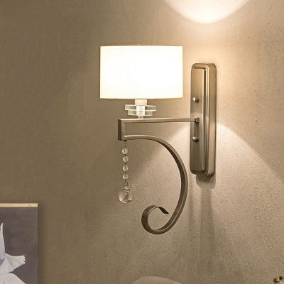 Traditionalism Cylinder Wall Mount Lamp 1 Head Crystal Ball Wall Sconce Lighting in Nickle