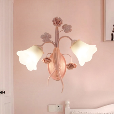 Traditionalism Floral Wall Mount Lamp 2 Heads Milky Glass Wall Sconce in Pink for Bedroom