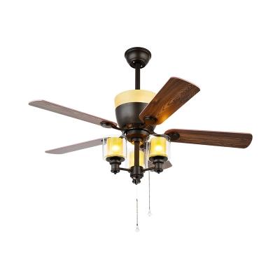 Traditionalist Cylindrical Ceiling Fan Light 3 Heads Clear Glass Semi Flush Mount Chandelier in Black