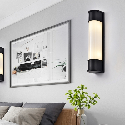 Tubular Sconce Contemporary Opal Glass 2 Heads Wall Mounted Light Fixture in White/Black/Gold