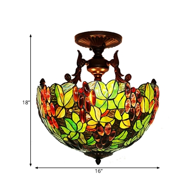 Victorian Bowl Semi Flush Lighting 3 Lights Pink/Green Stained Art Glass Ceiling Fixture in Bronze for Bedroom