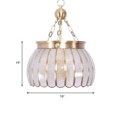 White 6 Heads Chandelier Lighting Colonialism Frosted Glass Scalloped Pendant Ceiling Light