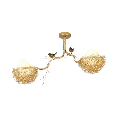Woven Nest Chandelier Light Contemporary Metal and White Glass Pendant Lamp with Bird Accents